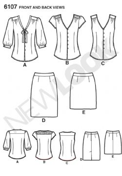 6107 New Look Pattern: Misses' Skirt and Blouse